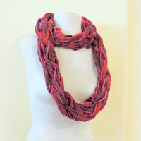 Knitted infinity, red maroon burgundy hand knitted scarf, loop scarf, knitted scarves, long winter scarf,boho accessories scarf