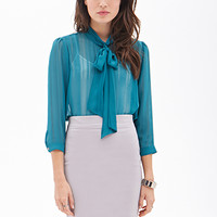 LOVE 21 Sheer Bow-Front Top