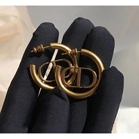 Dior CD premium gun gold frosted retro old letters CD circle fashionable earrings super texture and personality fashion