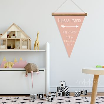 Personalized Pennant Birth Flag on Canvas