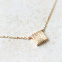 Gold Textured Square Necklace by laonato on Etsy