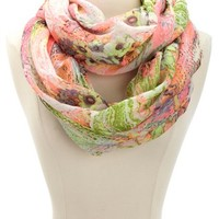 FLORAL NEON & DOT INFINITY SCARF