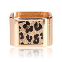 Beautiful Square Gold Bangle With Leopard Print Bracelet