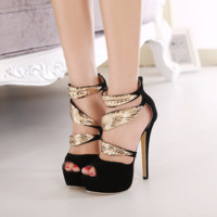 Stylish Vintage Peep Toe Leaf High Heels