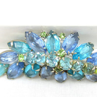 Blue Juliana Brooch Teal Green Rhinestone Pin D&E Open Back Silver Tone Crystal Glass Pear Navette Stones High End Vintage Jewelry Designer