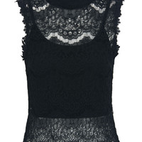 Black Sheer Lace Keyhole Back Cropped Lace Top