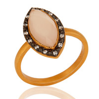 Marquise Cut Rose Chalcedony 14K Gold Plated 925 Sterling Silver Ring With CZ
