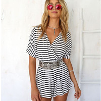 Summer Stylish Sexy V-neck Slim Stripes Women's Fashion Romper [4915021828]