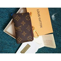 LV Popular Hot Sale Louis Vuitton Print Zipper Key Pouch Clutch Bag Wristlet I