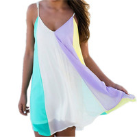 [FREE SHIPPING] New Summer Style Spaghetti Strap V-Neck Sexy Beach and Mini Party Dresse