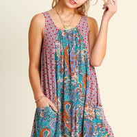 Boho Paisley Dress - Teal Mix