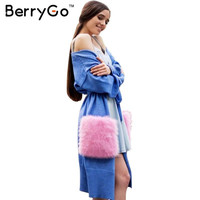 BerryGo plush pocket knitted cardigan women Autumn winter thin batwing sleeve pink sweater Elegant long patchwork jumper 2016