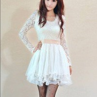 New Hot Elegant White Lace Knitting Korean Long Sleeve Dress