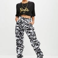 Missguided - Barbie x Missguided Black Camo Pants