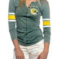 Green Bay Packers Womens Vintage Raglan Top | SportyThreads.com