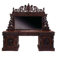 A Mid-victorian Carved Oak Sideboard By T. Woodgate