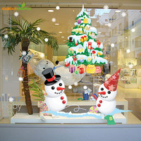 The New Shop Window Snowman Christmas Tree Christmas Wall Sticker Christmas Decorations For Home Christmas Window Sticker SM6