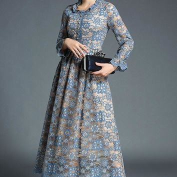2019 Flower Embroidery Hollow Out Lace Maxi Dress Women Long Sleeve O Neck Tunic Casual Long Dress Blue Gown Water Soluble Lace Dress