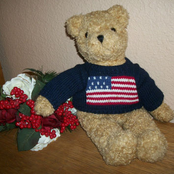 TY Teddy Bear Stuffed Animal Vintage Collectible Toy 18 Inch Curly Beige Plush Red White Blue American Flag Sweater Patriotic Home Decor