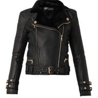 Leather and shearling biker jacket