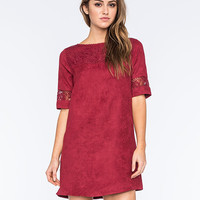 Fire Lace Suede Shift Dress Burgundy  In Sizes