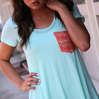 Crochet Pocket Tee {Mint}
