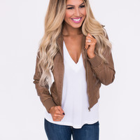 Faux Leather Moto Jacket- Brown