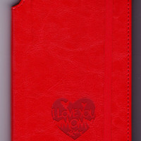 """Customizable engraved """"I love you mom"""" Journal leather bound, same color strip to  keep it closed mother's day gift for her, gift for mom"""