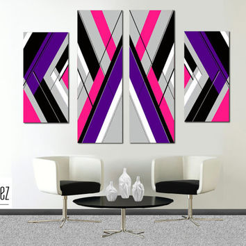 "Made to order- 57x36"" Original abstract painting. Large painting. Girly painting with pink, purple. 4 piece canvas art. Modern wall art"