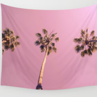 Beverly Hills Pink Palm Trees Wall Art Tapestry Perfect for Living Room or Bedroom