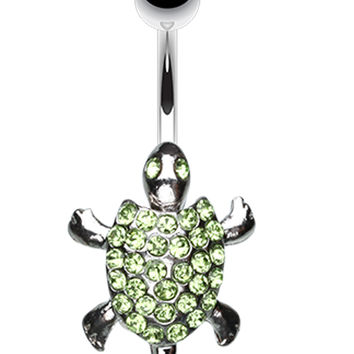 Adorable Turtle Dance Belly Button Ring