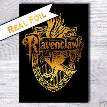 Ravenclaw House poster Harry Potter print Harry Potter real foil art Real gold foil decor Home decoration Kids room decor Wall art decor G12