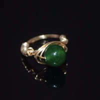 Handmade Emerald With Rose Gold Handcrafted Wire Ring