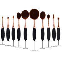 10pcs/set Toothbrush Shape Oval Makeup Brush Set Pro Foundation Powder Brushing Brush Eyeshadow Face Soft makeup brushes brand