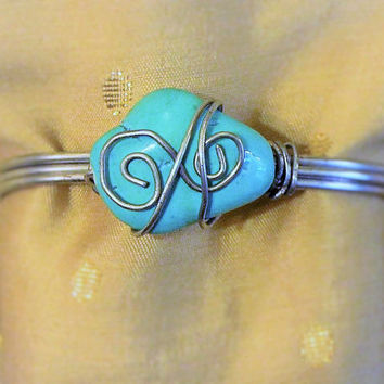 Handmade Rustic Boho Hippie Southwestern Turquoise and Silver Tone Metal Cuff Bracelet