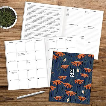 July 2021-June 2022 Poppies Large Monthly Planner
