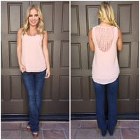 Brixton Lace Back Sleeveless Blouse - PINK