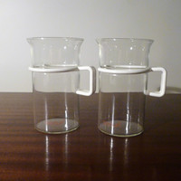 Vintage 1980s Pair of Bodum Tall Glass Coffee Mugs with White Plastic Handles / 300ml Capacity / Retro Mugs / Hot or Cold Liquid