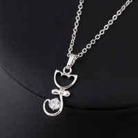 18K White Gold Wedding Engagement Link Chain Necklace Zircon Cat Pendant Jewelry Gift = 1930107396
