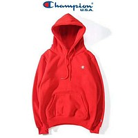 Champion Long Sleeve Hedging Pullover Sweater Hoodies Red