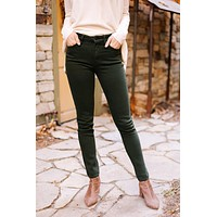 Wine And Dine Colored KanCan Jeans In Spruce