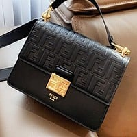 Hipgirls Fendi Fashion New More Letter Leather Shoulder Bag Crossbody Bag Handbag Black