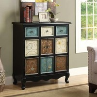 Distressed Black / Multi-Color Apothecary Bombay Chest