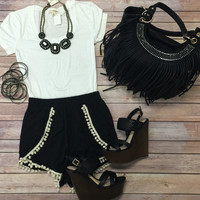Basic Black Pom Pom Shorts