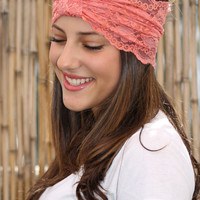 Handmade Lace Headband with lace wrap, Elastic Headband, Women Hair Accessories, Hairband, Peach Head Band, Wide Headband, Turban Head Wrap