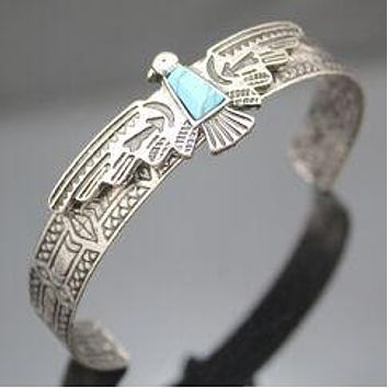 Thunderbird Cuff Bracelet Burnished Silver Tone With Turquoise Stone Native American Totem Firebird Also Available In Antique Gold
