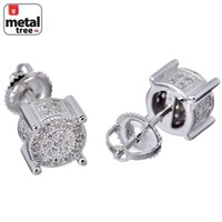 Jewelry Kay style Men's Hip Hop Iced Out 7 mm 3D Round Shape Side Stone Screw Back Stud Earrings