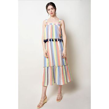 THML Stripe Maxi Dress with Tassels