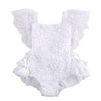 Tirred Cotton Bow Cute White Rompers Infant Baby Girl Clothes Lace Floral Ruffles Baby Girl Romper Cake Sunsuit Outfits 0-18M