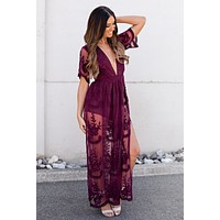 Sweetest Bohemian Gypsy Lace Maxi Dress (Wine)